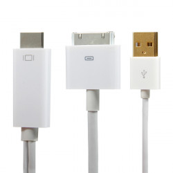1.8M HDMI Kabel Adapter Konverter USB Ladegerät für iPhone 4 4S iPad