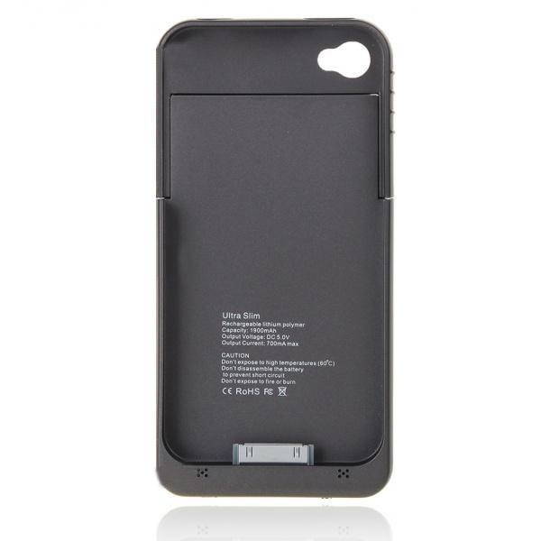 1900mAh Akku externe Unterstützungsbatterie Kasten für iPhone 4 4S iPhone 4 4S