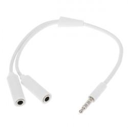3.5mm Hane till 2 Hona Öronsnäcka Ljudkabel för iPhone Smartphone