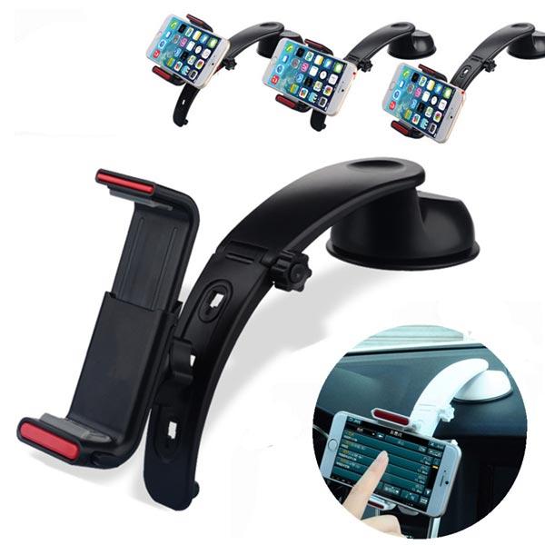 360° Angle Bil Dashboard Mount Holder Stativ Cradle til iPhone Kabler & Adaptere