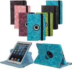 360°  Roterande Embossed Flower PU Läderväska till iPad Mini