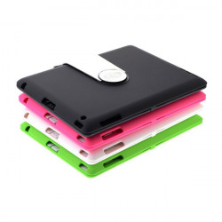 360 Rotating Plastic Wireless Blurtooth Keyboard Case For iPad 2 3 4
