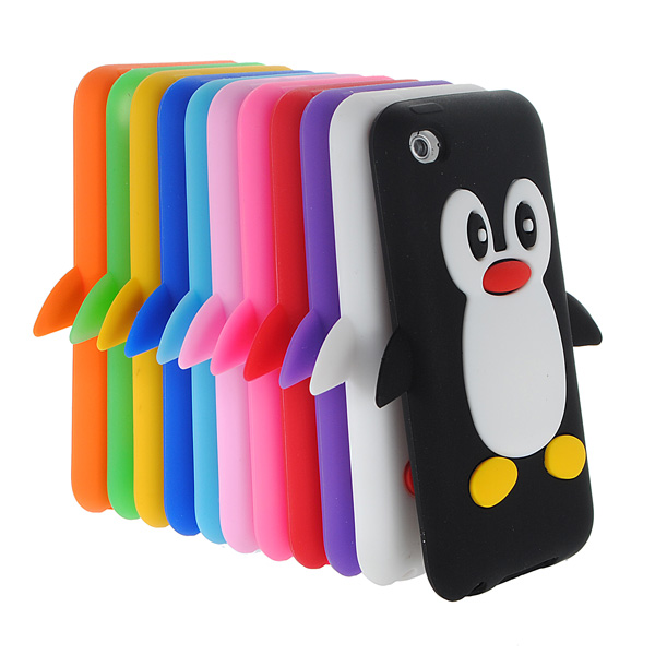 3D Cute Penguin Soft Rubber Silicone Case Cover For iPod Touch 4 iPod accessories