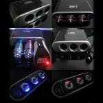 3 Vejs Triple Bil Cigarettænderen Splitter LED Lyskontakt iPhone 5 5S 5C