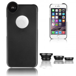 3in1 Fish Eye + Vidvinkel + Macro Kamera Lens + Bagside Case til iPhone6 Plus