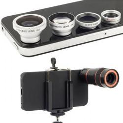 4 I 1 Lens Kit Microspur Fisheye 8X Teleskop för iPhone 4 4S