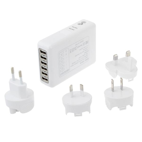 6 Portar 5v 4a USB-Laddare Med 4 Adaptrar för iPhone Smartphone iPhone 5 5S 5C