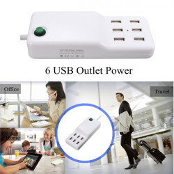 6 USB Outlet Power Strip Desktop Vægoplader Adapter til iPhone iPad