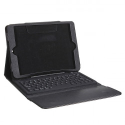 Svart Bluetooth Trådlös Tangentbord Läderfodral för iPad Air