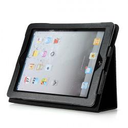 Schwarz Folio PU Ledertasche mit Ständer für iPad 3