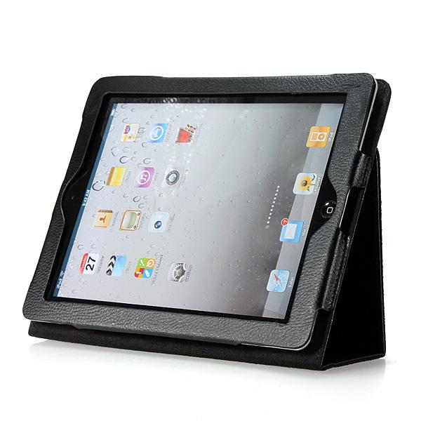 Svart Folio PU Läderfodral Fodral Med Stativ för iPad 3 iPad Tillbehör