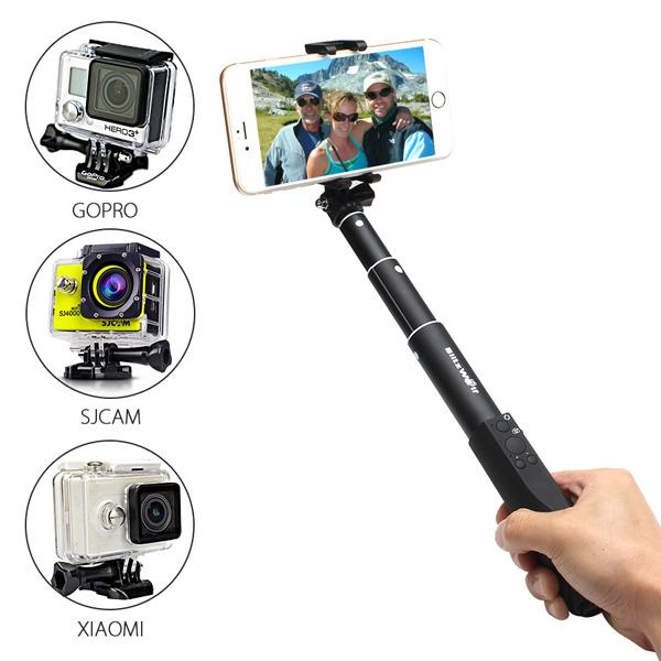 BlitzWolf™ Ultimate 4 Button Bluetooth Extendable Aluminium Selfie Stick Monopod iPhone 5 5S 5C