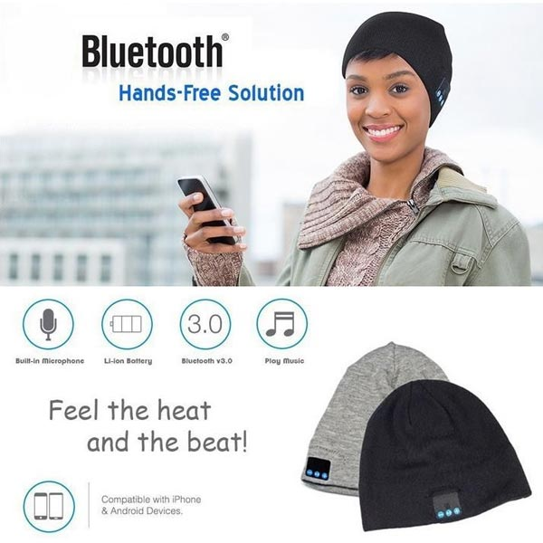 Bluetooth Mössa Handsfree Music Speaker Vinter Varm Cap Högtalare & Hörlurar