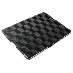 Checkerboard Grain PU Läder Ställ Fodral iPad 2 3 4