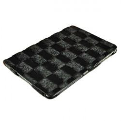 Checkerboard Ådringsmönster PU Läder Ställ Fodral för iPad Mini
