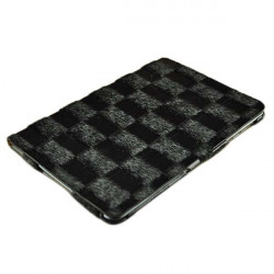 Checkerboard Grain Pattern PU Leather Stand Case For iPad Mini