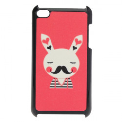 Cute Beard Mustache Kanin Frosted Bagside Case til iPod Touch 4