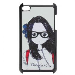 Cute Cartoon Briller Girl Frosted Hård Case til iPod Touch 4