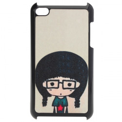 Cute Cartoon Lille Briller Gril Frosted Plast Case til iPod Touch 4