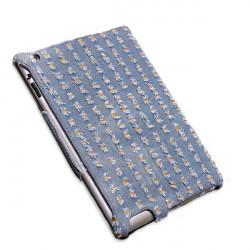 Denim Fabric Microfiber Prägling Heat Styling Skin Fodral för iPad 2 3