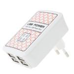 Eu Plug 4 USB-Portar Laddare Adapter för iPhone Smartphone iPhone 5 5S 5C