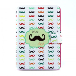 Moustache Pattern 360 Degree Rotating Leather Cover Case For iPad Mini