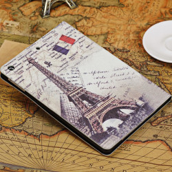 Retro Eiffeltornet Design Smart Ställ PU Läderväska till iPad Air