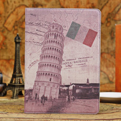 Retro Leaning Tower of Pisa Smart Stand PU Leather Case For iPad Air