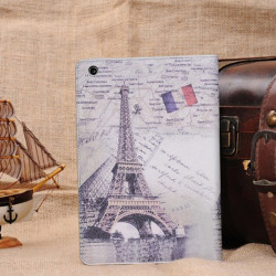 Retro Paris Sjunker Eiffeltornet Smart Ställ Läderfodral för iPad Mini