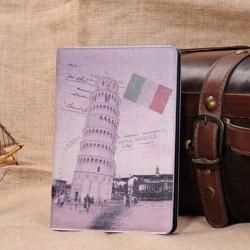 Retro Pisa Lutande Tornet Folding Ställ Läderfodral för iPad Mini