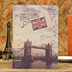 Retro Tower Bridge Design Smart Ställ PU Läderväska till iPad Air