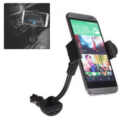 Rotatable Dual USB Mount Stand Holder Car Charger For iPhone