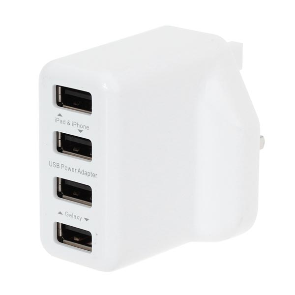 UK Plug 4 Port USB-Laddare Adapter för iPhone Smartphone iPhone 5 5S 5C