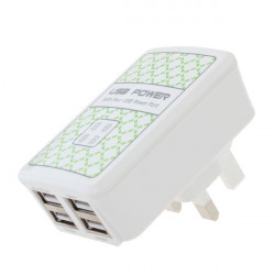 UK Plug 4 USB-portar Laddare Adapter för iPhone Smartphone