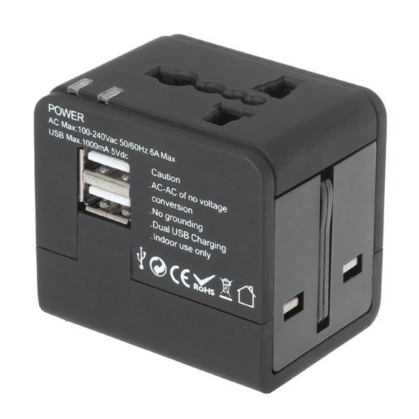 Universal 2 USB-Port Reseladdare Adapter för iPhone Smartphone iPhone 5 5S 5C