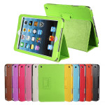 Wake Sleep Litchi Grain PU Leather Stand Folio Case For iPad Mini iPad Accessories