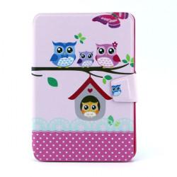 Varm Owl Mönster 360° Roterande Läderväska till iPad Mini