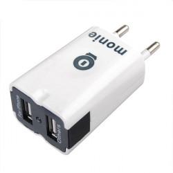 Vit Dual USB Port Resor Väggladdare för iPad Mini