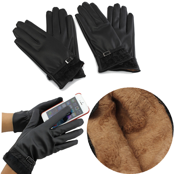 Kvinnors Winter Warm Pu Läder Click Touch Screen Magic Gloves iPhone 5 5S 5C