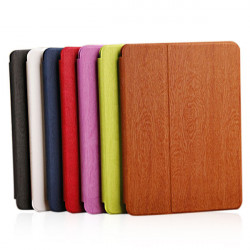 Wood Grain Folding Stativ PU Læderetui Cover til iPad Air