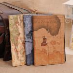 Världskarta Design PU Läder Ställ Fodral Skydd Flår för iPad Air iPad Tillbehör