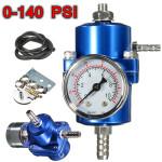 0-140 PSI Blue Fuel Pressure Regulator Adjustable Pressure Gauge Auto Parts