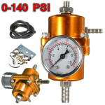 0-140 PSI Gold Fuel Pressure Regulator Adjustable Pressure Gauge Auto Parts