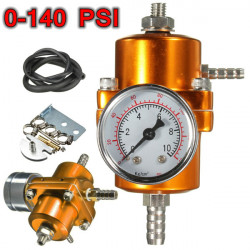 0-140 PSI Gold Fuel Pressure Regulator Adjustable Pressure Gauge