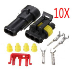 10 X 2 Pin Way Sealed Waterproof Electrical Wire Connector Plug Set