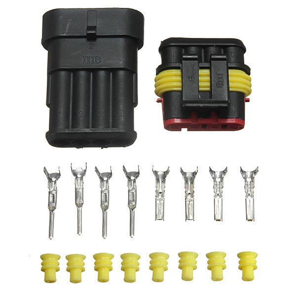 10 x 4 Pin Way Waterproof elektrischen Draht Anschlussstecker Set Sealed