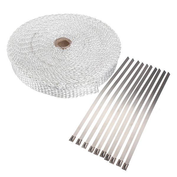 10m Exhaust Header Wrap Insulator Turbo Pipe High Heat Tape Hvid Bildele