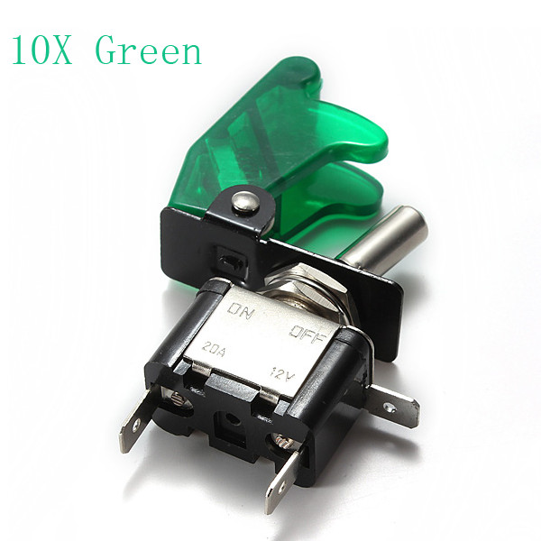 10x Green Car Cover LED SPST Toggle Rocker Switch Control 12V 20A Auto Parts