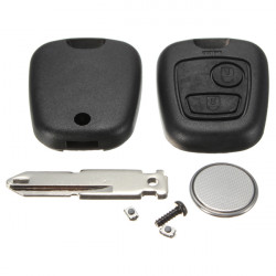 2 Knap Fjernbetjening Nøglehus Shell Switch Kit for Peugeot 206