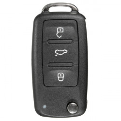 3 Button Remote Key FOB Shell Case+Uncut Blade For VW POlO